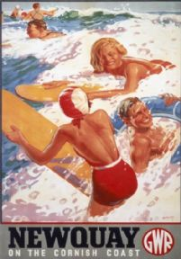 Newquay on the Cornish Coast, Surfing in Cornwall. Vintage GWR Travel Poster by Alfred Lambart. 1925